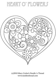 Free Hand Embroidery Pattern: Heart o' Flowers