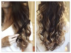 Hair tutorial: loose curls | happilygrey 1. Section hair and clip half up while you work from the nape of your neck towards the top 2.Begin with 1inch pieces and start curling hair: point 1in curling iron at a downward angle, insert hair into the open barrel, and wrap the hair around barrel away from your head 3.Continue curling the entire bottom section away from the face 4. Let down the top section and make your part however you prefer ...