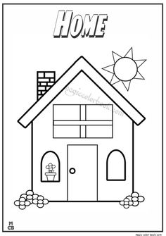 Happy House Coloring Page - Twisty Noodle Family Coloring Pages, House Colouring Pages, Preschool Coloring Pages, Coloring Sheets, Coloring Books, Free Coloring, All About Me Preschool, Preschool At Home, Preschool Activities