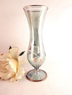 """Green Crystal Bud Vase 7"""" Etched Glass Flower Vase Vintage 1980's Royal Limited"""