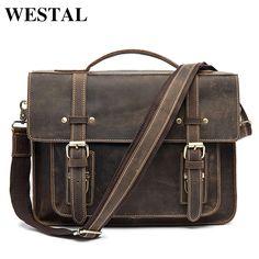 ff4b21c3787f WESTAL Мужской портфель сумка кожанная для ноутбука 13 сумки мужские через плечо  мужские сумки из натуральной
