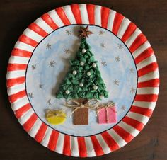 Christmas decorated paper plate & Paper Plate Gingerbread House Collage | Paper plate crafts ...
