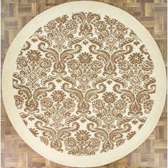 Handmade Circular Modern Style Area Rug in Beige, 8x8 area rug