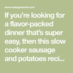 If you're looking for a flavor-packed dinner that's super easy, then this slow cooker sausage and potatoes recipe is for you. Sausage Recipes, Potato Recipes, Curried Sausages, Types Of Potatoes, Large Slow Cooker, Sausage Casserole, Cheesy Potatoes, Potato Dishes, Creamy Sauce