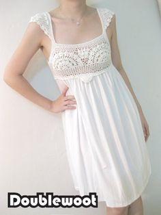 Crochet + tecido. (ideias de Internet) / Crochet / mulheres roupas gancho. Esquemas.