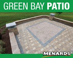 Create a welcoming outdoor entertaining area in your backyard with this attractive, long-lasting concrete paver block patio. The block wall features soft curved corners and pillars topped with glass block that could be used to light the area in the evenings. Paver Blocks, Landscape Materials, Concrete Pavers, Block Wall, Glass Blocks, Outdoor Entertaining, Building Materials, Green Bay, Backyard Ideas