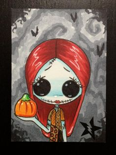 Sugar Fueled Sally Nightmare Before Christmas lowbrow creepy cute big eye ACEO mini print on Etsy, $4.00