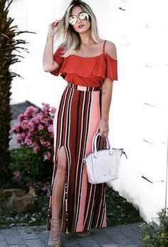 Look by @minyar with #casual #summer #party #stripes #primavera #skirts #autumn #blusa #chic #shopping #verão #looks #longo #offshoulders #acessorios #youtuber #día #trabalho #faculdade #outono #bolsa #blogueira #alternativo #escola #orangetshirts #whitebags #stripedskirts.