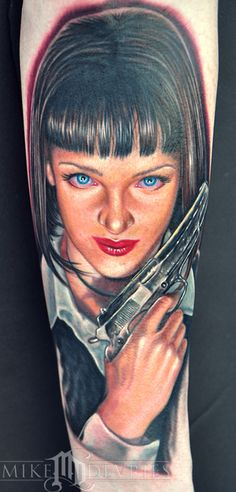Pulp Fiction portrait tattoo