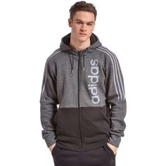 adidas Linear Hoody (68 CAD) ❤ liked on Polyvore featuring men's fashion, men's clothing, men's hoodies, mens full zip hoodies, adidas mens hoodies, mens full zip hoodie, mens hoodies and mens sweatshirts and hoodies