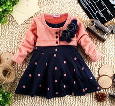 New Years Child Clothes Corsage Girl Winter Dresses Baby Princess Dress Flower Knitted Long Sleeve Patchworl Dots Mini Dress - Vestidos de bebê - children Kids Outfits Girls, Toddler Outfits, Girl Outfits, Girls Dresses, Baby Princess Dress, Baby Dress, Dot Dress, Princess Flower, Princess Girl