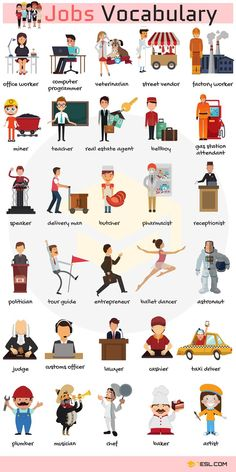 Learn English Vocabulary for Jobs and Occupations through Pictures and Examples. A job, or occupation, is a person's role … # ielts vocabulary learn english List Of Jobs And Occupations Learning English For Kids, Teaching English Grammar, Kids English, English Writing Skills, English Language Learning, English Vocabulary Words, English Study, English Lessons, Vocabulary List