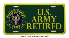US Army Retired Novelty License Plate