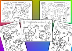 Trolls coloring pages, Trolls Birthday Party favor, PDF file by VSstudio on Etsy https://www.etsy.com/uk/listing/490810629/trolls-coloring-pages-trolls-birthday