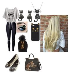 """""""Cat day"""" by qeenasma ❤ liked on Polyvore featuring Amanda Rose Collection and Dolce&Gabbana"""
