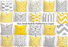 Gray.Yellow+Pillows.ALL+SIZES.Decorator+Pillow+by+ElemenOPillows,+$14.00