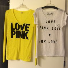 ***BUNDLE*** 2 VS PINK shirts 2 VS PINK shirts. Yellow long sleeve is a Large, white short sleeve is a Medium (but fits more like a large)  Both have a tiny amount of balling at underarm area. Nothing too noticeable though. A sweater balling device will get rid of it. PINK Victoria's Secret Tops