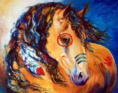 """""""Sun Buckskin"""" - Indian War Horse (from my 2014 Indian War Horse Series). Original Oil Painting.  Artist Marcia Baldwin."""