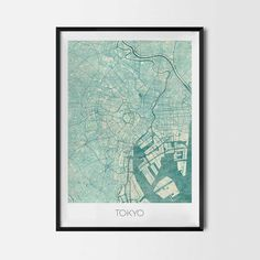 Tokyo art posters and prints of your favorite city. Unique map design of Tokyo. Perfect for your house and office or as a gift for friend.