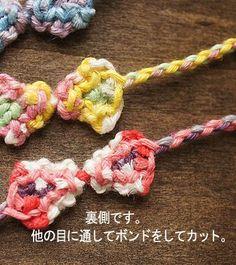 ヘンプでリボンブレスレット: チャムランの * ちょこっと編み方 *