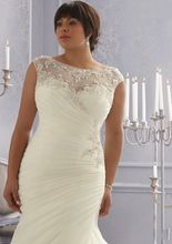 New In Trend Scoop Neck Appliques with Beads Cap Sleeves Pleated Bodice Organza Mermaid Style Plus Size Wedding Dresses 2016 New(China (Mainland))