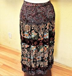 Coldwater Creek Petite PL Tiered Skirt Black/Multi Floral Paisley Broomstick #ColdwaterCreek #TieredPeasantBoho