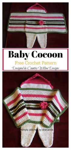 Swaddle Me Baby Cocoon Free Crochet Pattern This newborn croc. Swaddle Me Baby Cocoon Free Crochet Pattern This newborn crochet swaddle cocoon is half cocoon and ha. Crochet Baby Cocoon Pattern, Crochet Baby Blanket Beginner, Newborn Crochet, Baby Knitting, Free Knitting, Crochet Gratis, Free Crochet, Crochet Yoke, Crochet For Beginners