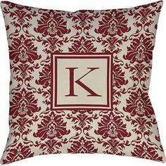 Thumbprintz Damask Monogram Decorative Pillow, Crimson, Red