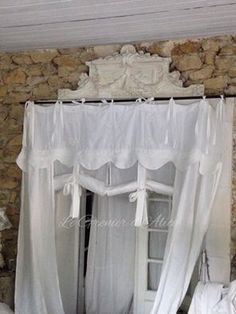 Rideau shabby chic romantique lin blanc organdi broderie machine
