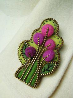 Felt and  zipper tree brooch via Etsy