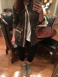 Cabi anorak jacket, asymmetrical tank & track pant
