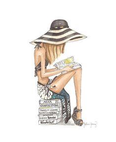 The Reader Series: Beach Bum Watercolor by StephanieJimenez