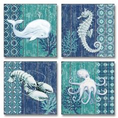 4 Lovely Blue and Teal Seahorse, Whale, Octopus and Lobster Poster Prints; Four 12 x 12 Poster Prints