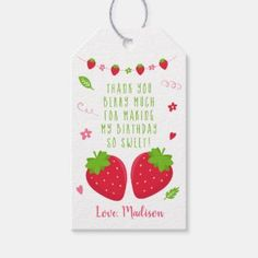 Strawberry Pink Girl Birthday Thank You Favor Gift Tags | Zazzle.com First Birthday Favors, Birthday Thank You, Girl Birthday, Cute Strawberry, Custom Ribbon, Personalized Gift Tags, Thank You Gifts, Pink Girl, Pink And Green