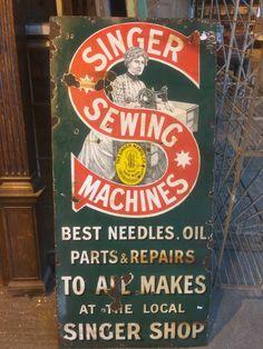 #original singers sewing machines #enamel sign