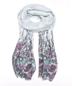 East Cloud Gray & Purple Floral Sketch Scarf | zulily