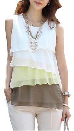 Brown, White Chiffon Sleeveless Top. Free shipping and guaranteed authenticity…