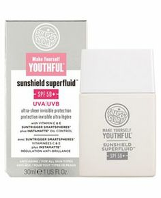 Soap and Glory™ Make Yourself Youthful™ Sunshield Superfluid™ - Boots (i have to admit i like s&g, stuff smells good and the products are genuinely good across the range, good budget SPF at Drugstore Skincare, Moisturizer With Spf, Best Face Products, Beauty Products, Best Budget, Sun Protection, Sunscreen, Face And Body, Soap