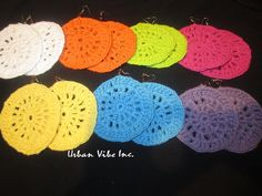 Color Block Crochet Cotton Earrings Pick Your by snchastang25, $10.00