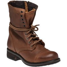 STEVE MADDEN Troopa 2.0 Cognat Leather Combat Boot ($72) ❤ liked on Polyvore featuring shoes, boots, ankle booties, cognac leather, leather combat boots, military boots, combat booties, combat boots and cognac boots