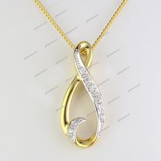 """14K Yellow Gold Plated D/VVS1 Diamond Fancy Pendant With 18"""" Chain Free Pouch #giftjewelry22 #FancyPendant"""