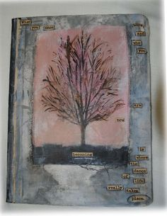 Lovely tree and meaningful text on this altered composition notebook.