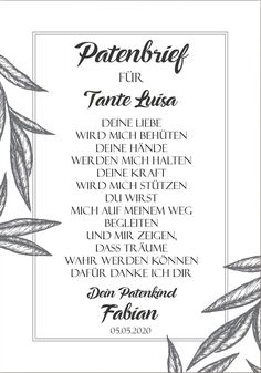 Ein tolles Andenken für die Patin/den Paten Der Patenbrief kann auch schön ger… One tolles andenken for the patin / the paten of the paten letter can also beautiful gerahmt be in a personal gift the paten letter is individual with the names eures … Sponsorship Letter, Invitation Design, Invitations, Health Care Reform, The Godfather, Happy Baby, Social Platform, Little Gifts, Personalized Gifts