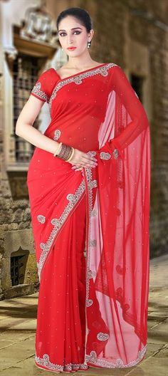130195, Party Wear Sarees, Embroidered Sarees, Faux Georgette, Stone, Zari, Border, Thread, Bugle Beads, Sequence, Floral, Red and Maroon Color Family
