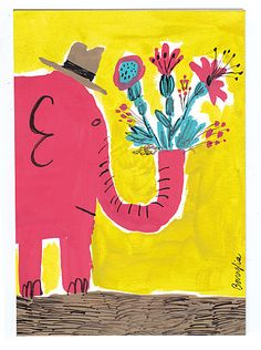 elephant in hat with flowers, fred benaglia, 'printemps!'