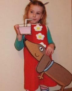 Great Charlie and Lola fancy dress idea, complete with Sizzles, the extremely clever sausage dog. Purim Costumes, Book Costumes, World Book Day Costumes, Book Character Costumes, Book Week Costume, Cute Costumes, Costume Ideas, Halloween Costumes, Childrens Fancy Dress