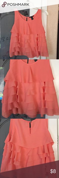 Coral ruffle tank Small Coral Ruffle Tank by Forever 21. Size small. Forever 21 Tops Tank Tops