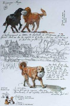 Voyage Sketchbook, Travel Sketchbook, Artist Sketchbook, Animal Sketches, Animal Drawings, Drawing Sketches, Watercolor Animals, Watercolor Art, Moleskine