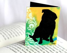 Magnetic Bookmark Pug Dog Art Silhouette Damask by loriamckee