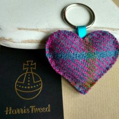 Harris Tweed heart keyring in a beautiful purple, blue, pink and green tweed with a bright purple edge. Available now with other colours in stock too ❤